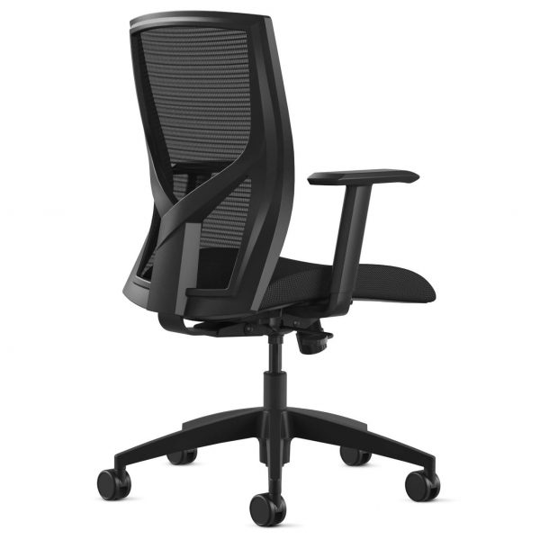 """205 9to5seating task chair backview • Ships in 24 hours • Five-year warranty • Assembly required • Warranted to 300 lbs. • 2-way height adjustable arms • Black mesh back • Air grid mesh seat and 3"""" thick molded foam seat"""