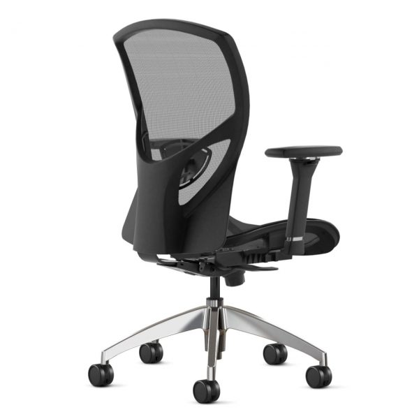 217 9to5seating task chair • Ships in 24 hours • Five-year warranty • Assembly required • Warranted to 300 lbs. • Graphite mesh seat and back • Ratchet back w/ adjustable lumbar and 8-arms way adjustable • Polished aluminum base