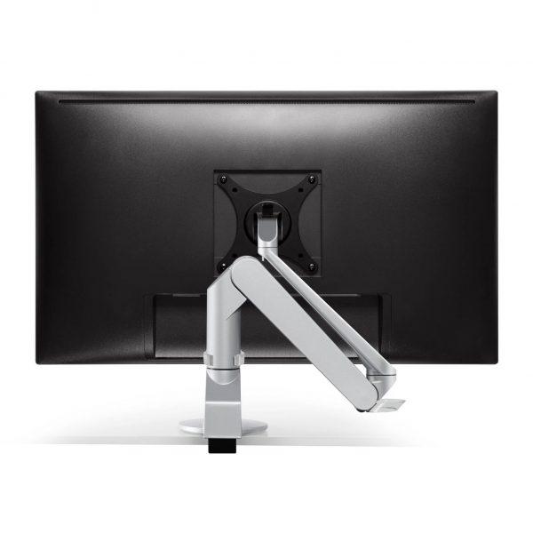 "5900 124 back folded <ul> <li>Screen size: Up to 27""</li> <li>Mount supports monitors 1 - 15 lbs</li> <li>3 Color Choices</li> <li>Height Adjustment: 10.4"" | Extension Range: 18""</li> <li>Pivot: Landscape / Portrait</li> <li>Rotation: 180° at base, 360° at upper joints</li> <li>Includes desk clamp (bolt thru-mount sold separately)</li> <li>VESA Compatibility: 75 & 100 mm, quick-release adapter included</li> <li>Warranty: 10 Years</li> </ul>"
