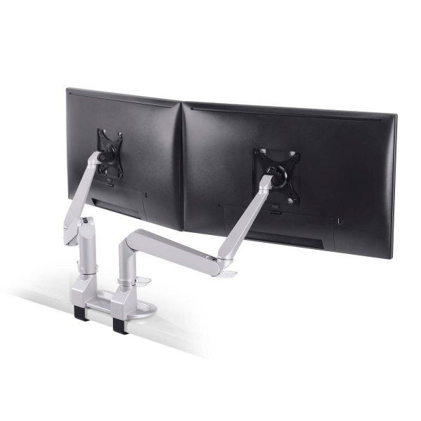"5902 124 back <ul> <li>Screen size: Up to 27""</li> <li>Mount supports monitors 1 - 15 lbs</li> <li>3 Color Choices</li> <li>Height Adjustment: 10.4"" | Extension Range: 18""</li> <li>Pivot: Landscape / Portrait</li> <li>Rotation: 180° at base, 360° at upper joints</li> <li>Includes desk clamp (bolt thru-mount sold separately)</li> <li>VESA Compatibility: 75 & 100 mm, quick-release adapter included</li> <li>Warranty: 10 Years</li> </ul>"