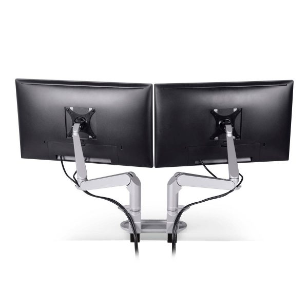 "5902 124 cable management <ul> <li>Screen size: Up to 27""</li> <li>Mount supports monitors 1 - 15 lbs</li> <li>3 Color Choices</li> <li>Height Adjustment: 10.4"" | Extension Range: 18""</li> <li>Pivot: Landscape / Portrait</li> <li>Rotation: 180° at base, 360° at upper joints</li> <li>Includes desk clamp (bolt thru-mount sold separately)</li> <li>VESA Compatibility: 75 & 100 mm, quick-release adapter included</li> <li>Warranty: 10 Years</li> </ul>"