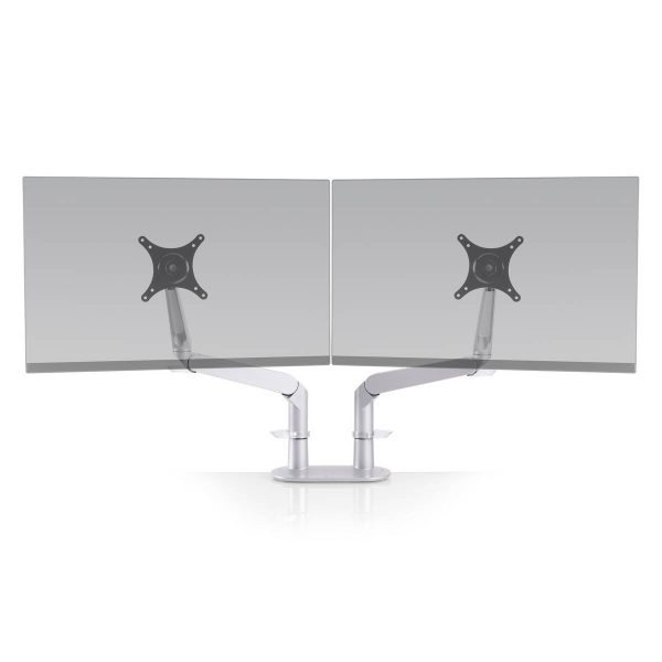 "5902 124 front landscape <ul> <li>Screen size: Up to 27""</li> <li>Mount supports monitors 1 - 15 lbs</li> <li>3 Color Choices</li> <li>Height Adjustment: 10.4"" | Extension Range: 18""</li> <li>Pivot: Landscape / Portrait</li> <li>Rotation: 180° at base, 360° at upper joints</li> <li>Includes desk clamp (bolt thru-mount sold separately)</li> <li>VESA Compatibility: 75 & 100 mm, quick-release adapter included</li> <li>Warranty: 10 Years</li> </ul>"