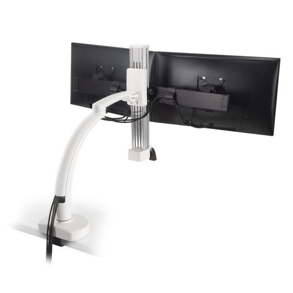 "Ella 2 CM 248 cable management <ul> <li>Screen size up to: 43""</li> <li>Available in Flat White, Silver, Vista Black</li> <li>Height adjustment: 11.5""   Extension range 24.4""</li> <li>Pivot: Landscape / Portrait</li> <li>Rotation: 180° at base, 360° at upper joints</li> <li>Mount Configurations: Desk Edge and Grommet</li> <li>Vesa Compatibility: 75 & 100mm, adapter included</li> <li>Warranty 10 Years</li> </ul>"