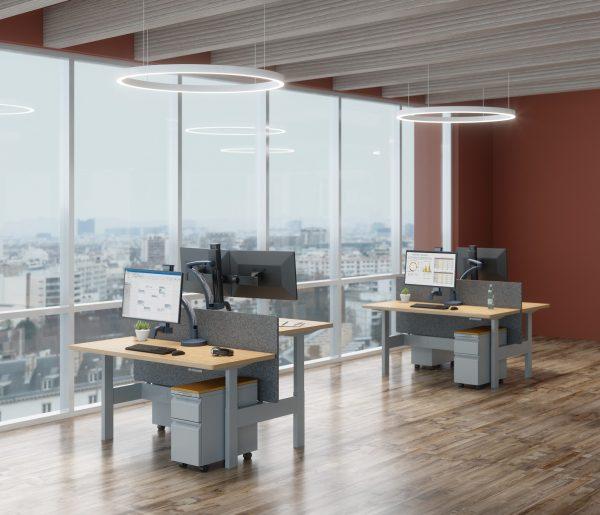 "Ella lifestyle HAT benching 2 pack windows scaled <ul> <li>Screen size up to: 43""</li> <li>Available in Flat White, Silver, Vista Black</li> <li>Height adjustment: 11.5"" | Extension range 24.4""</li> <li>Pivot: Landscape / Portrait</li> <li>Rotation: 180° at base, 360° at upper joints</li> <li>Mount Configurations: Desk Edge and Grommet</li> <li>Vesa Compatibility: 75 & 100mm, adapter included</li> <li>Warranty 10 Years</li> </ul>"