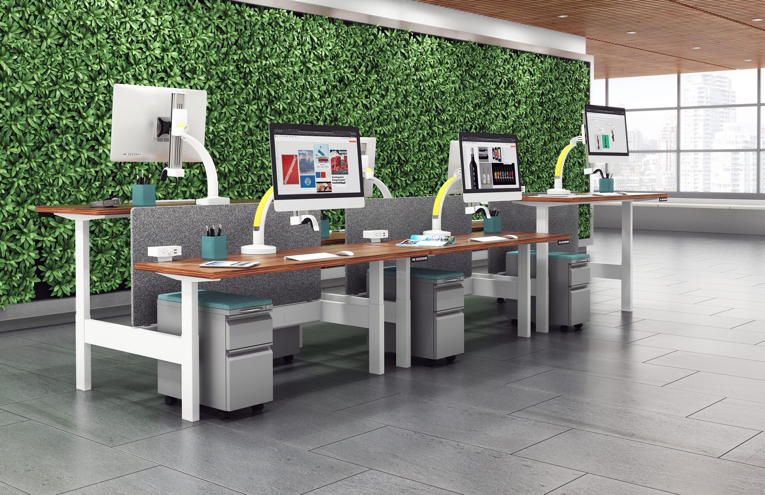 "Ella lifestyle HAT benching 6 pack biophilic wall scaled <ul> <li>Screen size up to: 43""</li> <li>Available in Flat White, Silver, Vista Black</li> <li>Height adjustment: 11.5"" | Extension range 24.4""</li> <li>Pivot: Landscape / Portrait</li> <li>Rotation: 180° at base, 360° at upper joints</li> <li>Mount Configurations: Desk Edge and Grommet</li> <li>Vesa Compatibility: 75 & 100mm, adapter included</li> <li>Warranty 10 Years</li> </ul>"
