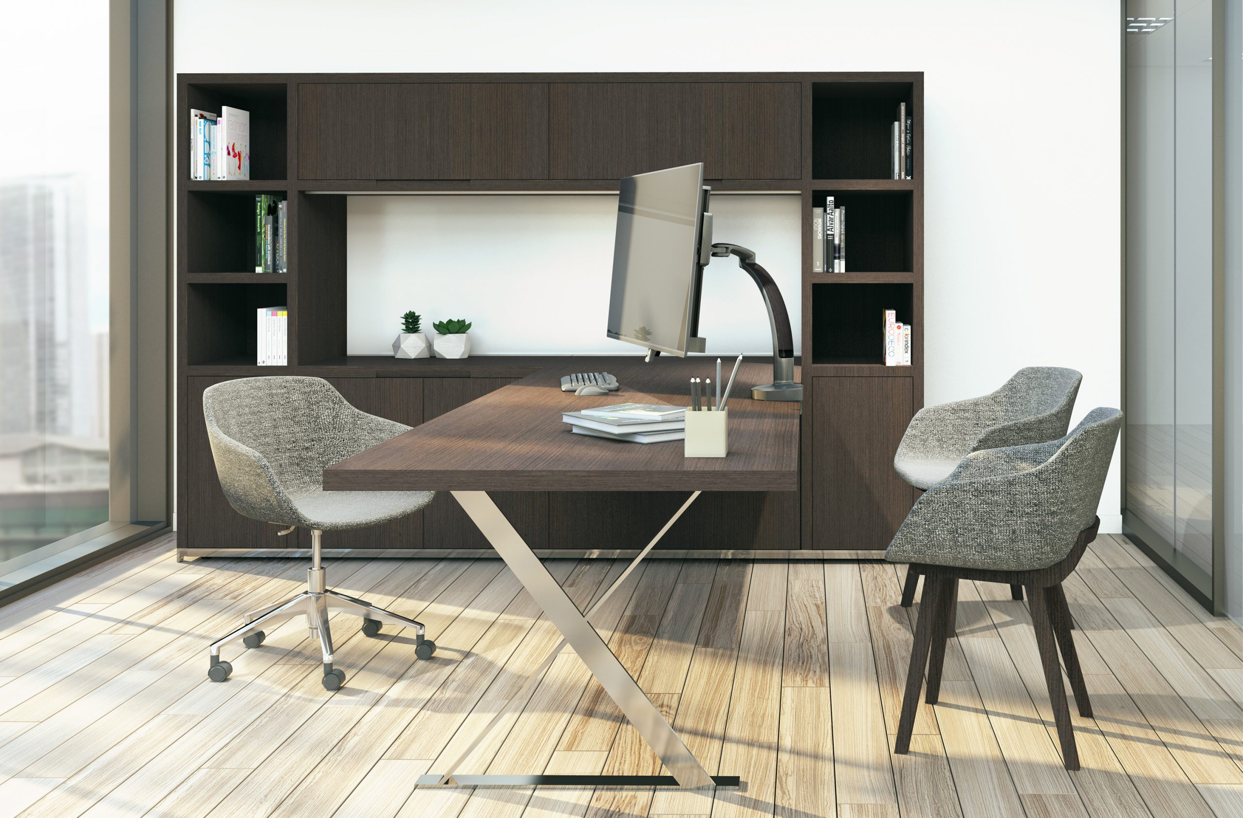"Ella lifestyle traditional office scaled <ul> <li>Screen size up to: 43""</li> <li>Available in Flat White, Silver, Vista Black</li> <li>Height adjustment: 11.5"" | Extension range 24.4""</li> <li>Pivot: Landscape / Portrait</li> <li>Rotation: 180° at base, 360° at upper joints</li> <li>Mount Configurations: Desk Edge and Grommet</li> <li>Vesa Compatibility: 75 & 100mm, adapter included</li> <li>Warranty 10 Years</li> </ul>"