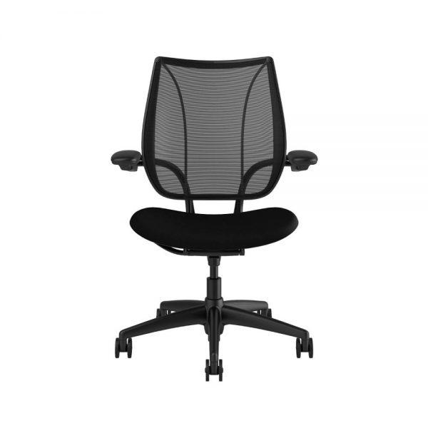 "Humanscale liberty black frame black fabric quickship <ul> <li>Ergonomic Mesh Chair</li> <li>Adjustable Duron Arms</li> <li>Standard Foam Seat Pan</li> <li>Standard Cylinder 5""</li> <li>Standard Hard Casters</li> <li>Standard Matching Base</li> <li>Weight Capacity up to 300 lbs</li> </ul>"