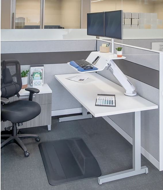 "Lotus dual monitor sit stand white <ul> <li>Smooth Lift Technology with easy dial weight adjustment</li> <li>180° base rotation (90° in each side)</li> <li>Clamp mounts to worksurface (1"" to 3"")</li> <li>17"" height adjustment range</li> <li>Precision positioning</li> <li>25 lbs. platform weight capacity (<strong>10</strong> for each monitor and 5 for keyboard tray)</li> <li>Includes integrated cable management</li> <li>Waterfall design allows users to prop up a phone, notepad, or document</li> <li>Warranty 5 yr</li> </ul>"